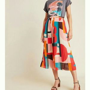 Anthropologie Color-Block Pleated Skirt